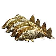 Hollywood Regency Mid-Century Modern Italian 24K Gold Plated Fish Napkin Holders Set - Red Tag Sale Item