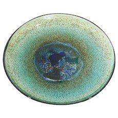 Kosta Boda Bertil Vallien Meteor Art Glass Footed Bowl ~ Charger ~ Platter 79321 Signed & Numbered Studio Glass