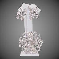 Art Nouveau Design Sterling Silver & Marcasite Demi Parure