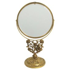 Romantic Rose Themed Ormolu Gilt Free Standing Vanity Double Sided Mirror