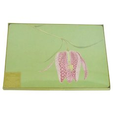 Retired Rock Flower Paper Set of Four Linda Funk Fritillaria Flower Placemats in Original Sealed Package