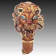 Kenneth Jay Lane Enamel Lion Clamper Bracelet Rhinestone Eyes w/ Original KJL Box, Pouch & Papers