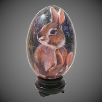 Spring Sale!! Delightful 1970's Paper Mache Egg with Bunny Rabbit Graphics in Holder