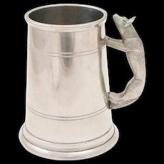 English Pewter Stein Figural Fox Handle Tankard Hunting Cup