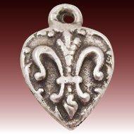 Vintage Sterling Silver Fleur De Lis Puffy Heart Charm