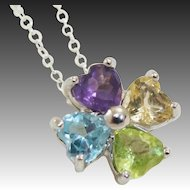 Heart Cut Semi-Precious Multi-Colored Gemstones of Flower ~ Clover Sterling Silver Necklace