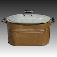 Primitive Copper Wash Basin / Boiler / Coal / Tub with Lid by Cream City ~ Country Home or Sea Side Cottage
