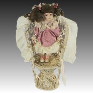 Vintage Wicker, Roses & Ribbons Victorian Style Doll Dollhouse Wicker Seat Chair
