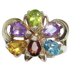 Bold Multi-Gemstone Layered Cocktail Ring in Sterling Silver Setting