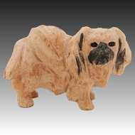 Vintage 1970's Hand Carved Wood Pekingese Dog for Dollhouse