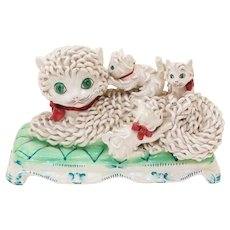 Delightful Italian Ceramic Spaghetti Style Signed Sculpture Mom Cat & Her Three Kittens - Red Tag Sale Item