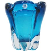 Whitefriars Large MCM Molar Lobed Cased Kingfisher Blue Glass Vase by William Wilson