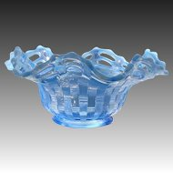 Early Fenton Glass Open Edge Basketweave Opalescent Blue Crimped Ruffled Bowl