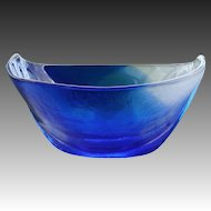 Mats Jonasson Swedish Crystal Art Glass Blue Ocean Bowl