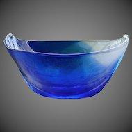 Mats Jonasson Swedish Crystal Art Glass Blue Ocean Bowl