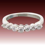 Brilliant Diamond Wedding ~ Promise ~ Anniversary ~ Engagement 14K WG Seven Stone .38 CTW Band Ring