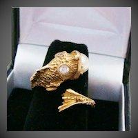 14K Gold, Diamonds & Natural Saltwater Pearl Koi Fish Bypass Nautical Estate Ring