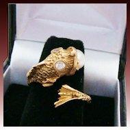 14K Gold .23 CTW Diamond & Natural Saltwater Pearl Koi Fish Bypass Nautical Estate Ring