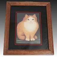Martin Leman Cat Print In Wood Frame 1970's