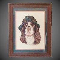 Whimsical Springer Spaniel Dog Original Pastel Portrait by Julie Schappe