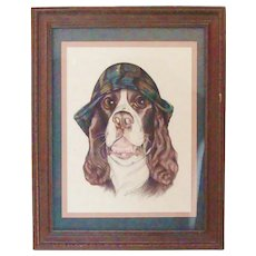 Whimsical Springer Spaniel Dog Original Pastel Portrait by Julie Schappe