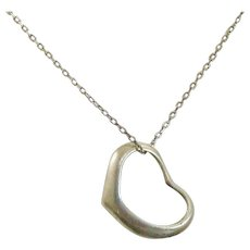 1980's Sterling Silver Vintage Floating Heart Slide Pendant and Chain Link Necklace