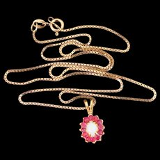 Natural Opal & Ruby 12K Gold Filled Pendant on Gold Filled Box Link Chain