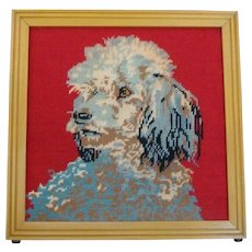 Hand Stitched Framed Needlepoint of Poodle Dog - Red Tag Sale Item