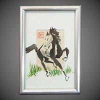 Original Signed Oriental Art Horse Painting by Samuel Kim