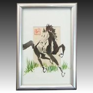 Original Signed Oriental Art Horse Painting by Samuel Kim