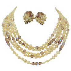 Designer ROBERT Five Strand Iridescent Champagne Glass Lave Rock Beads & Crystal Necklace & Earrings Demi Parure