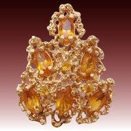 Romantic 14K Gold & Citrine Mid-Century Modern Ring 10.50 grams ~ 4.68 Carats