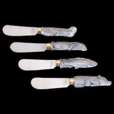 Arthur Court Pewter Animal Handle Cheese. Butter, Spreaders ~ Knife Set