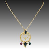 1980's Etruscan Hammered Satin Finished Enamel & Glass Bead Drop Necklace & Pendant Set