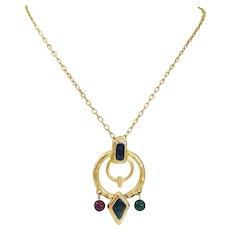 1980's Etruscan Hammered Satin Finished Enamel & Glass Bead Drop Necklace & Pendant Set