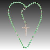 Vintage Italian Peridot Green Color Faceted Crystal Glass Rosary Beads Silver Tone Crucifix Signed Italy