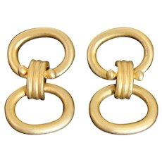 Bold 1980's Satin Finish Gold Gilt Etruscan Revival Dangling Post Back Earrings
