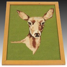 Mid Century Hand Stitched Framed Needlepoint of a Doe ~ Deer