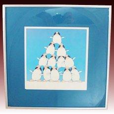 Vintage 1977 Whimsical Print by Stewart Moskowitz in 1970's Modern Frame ~ Nursery ~ Children's Room