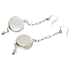 Antique Rock Crystal Pools of Light Repousse Floral Sterling Earrings