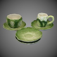 Collection of Vintage Majolica Pottery Cabbage ~ Lettuce ~ Cauliflower Tableware Pieces