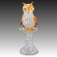 Mid-Century Modern Hand Spun Souvenir Glass Owl on Tree Sculpture