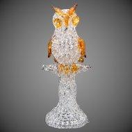 Mid-Century Modern Hand Spun Souvenir Glass Owl on Tree Sculpture