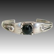 Navajo Native American Sterling and Onyx Cuff Bracelet