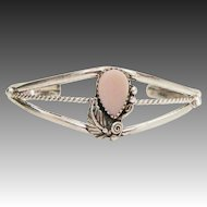 Old Pawn Native American Sterling Silver and Pink Mother of Pearl Cuff Bracelet