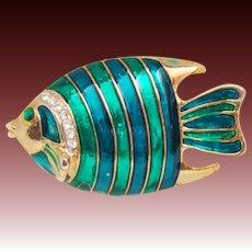 Signed CRAFT ~ Gem-Craft Enamel & Rhinestone Tropical Fish Pin