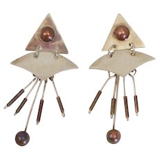 Taxco Mexico Sterling Silver Mixed Metal Abstract Design Dangling Earrings