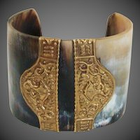 Vintage Carved Horn Bracelet with Brass Accents