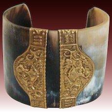 Vintage Carved Horn Bracelet with Brass Accents