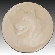 Vintage Dog Relief Chalkware Wall Plaque